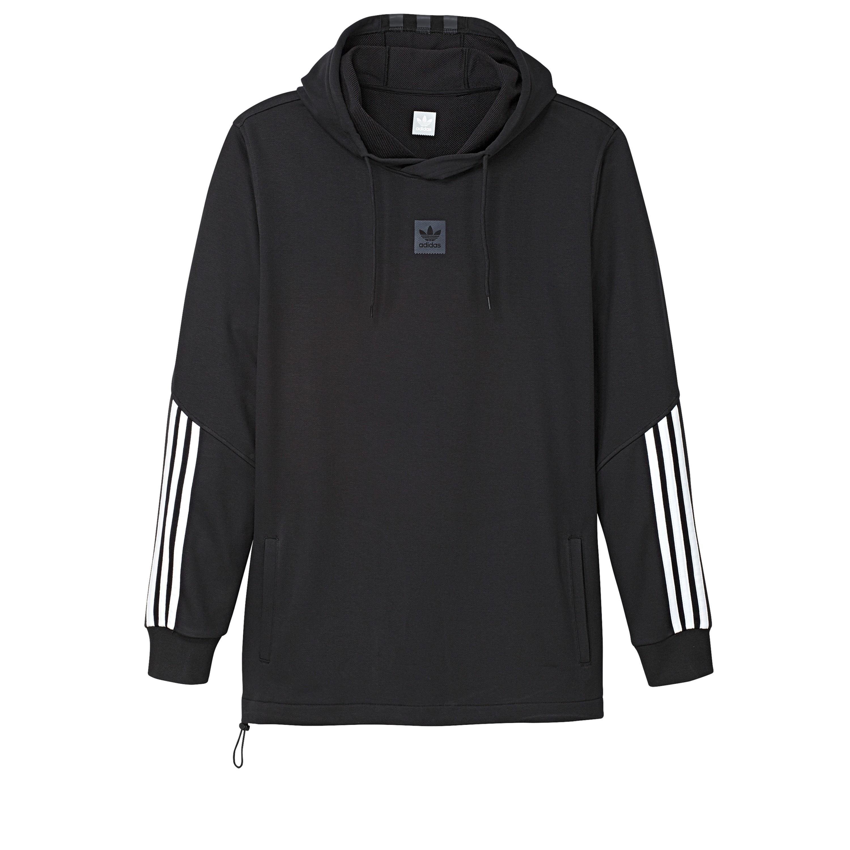4854ae43a49 adidas Skateboarding Cornered Pullover Hooded Sweatshirt (Black/White/Black  Reflective)