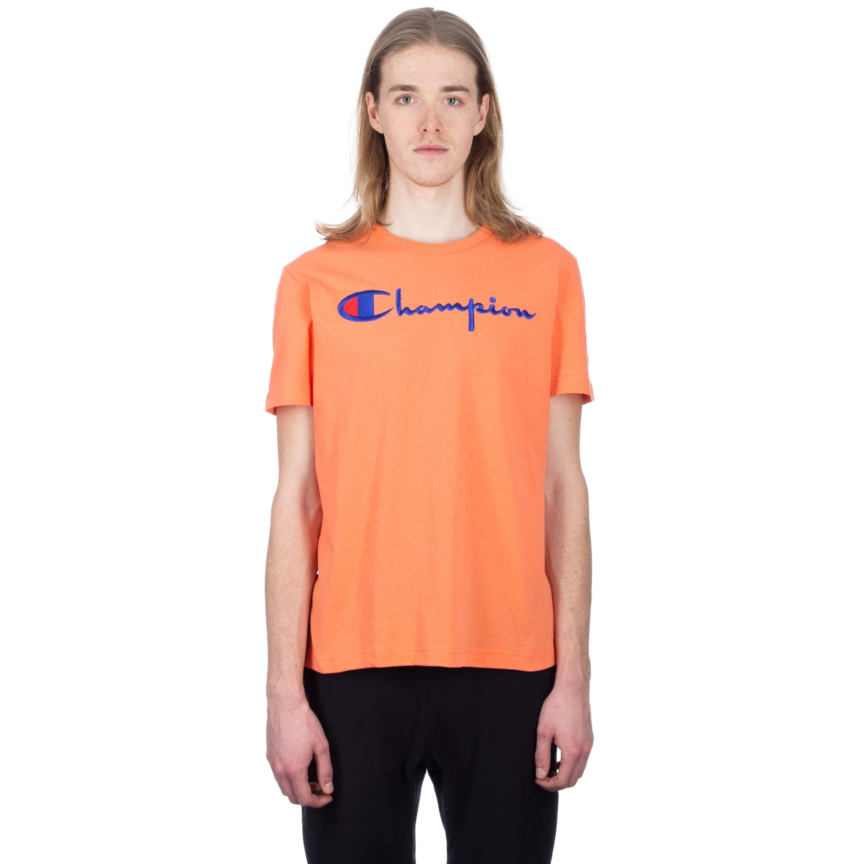 a22f950c Champion Reverse Weave Script Applique Crew Neck T-Shirt (Salmon ...
