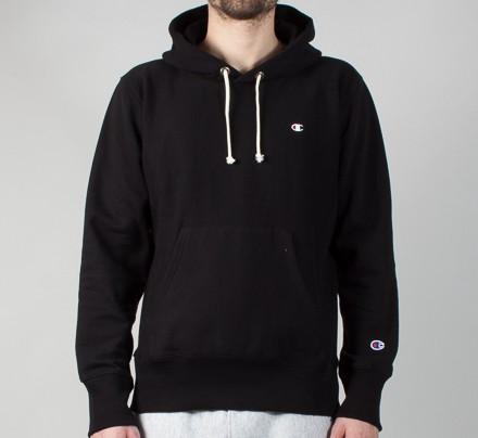 e1e2e92dfa8e Champion Reverse Weave Small C Pullover Hooded Sweatshirt (Black) -  Consortium.