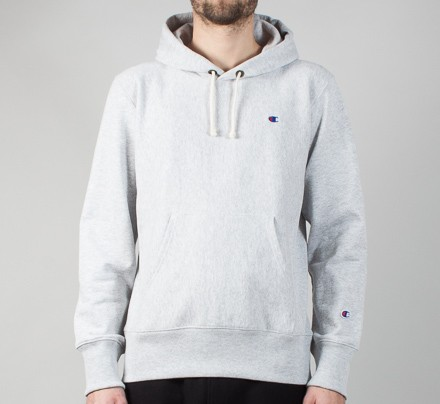 ad4202a040a6 Champion Reverse Weave Small C Pullover Hooded Sweatshirt (Heather Grey) -  Consortium.
