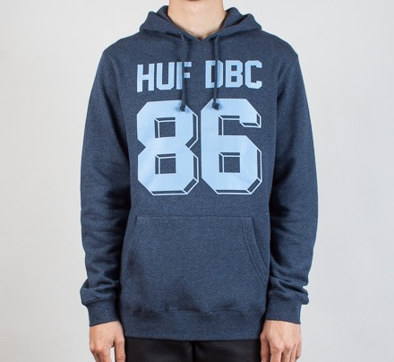 1729b3cb2 HUF Franco Pullover Hooded Sweatshirt (Navy Heather) - Consortium.
