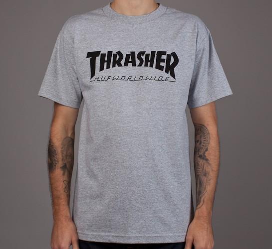 c7834e9b6414 HUF X Thrasher Tour T-Shirt (Heather Grey) - Consortium.