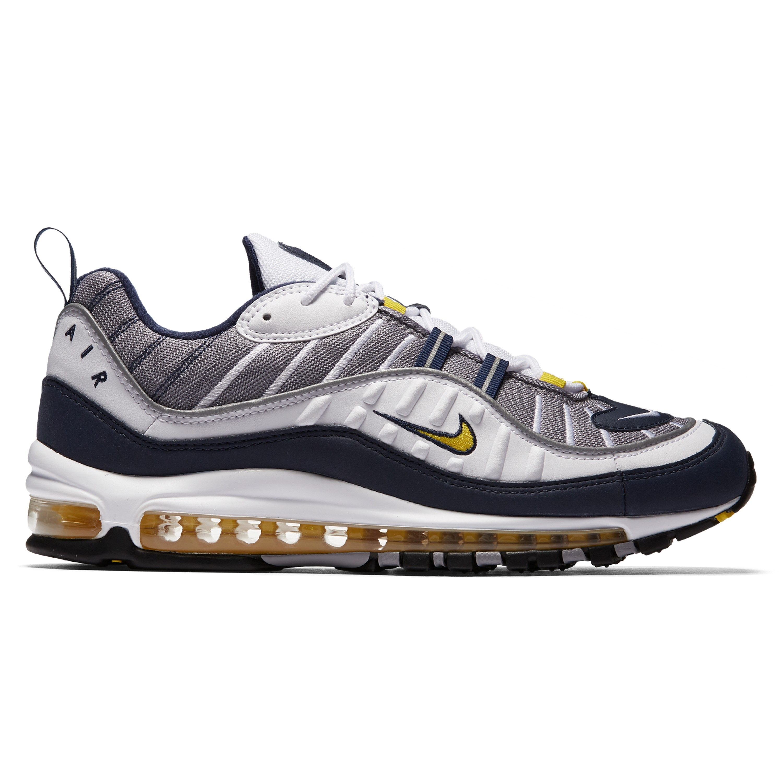High end Product Nike Air Max 98 OG White Black Racer Blue Volt 640744 103 Men's Running Shoes Lifestyle Shoes #640744 103