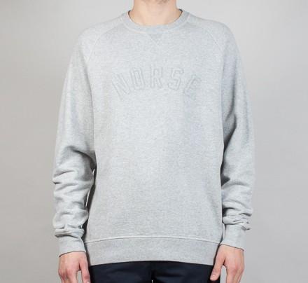 5ca3d0543ba Norse Projects Ketel Logo Crew Neck Sweatshirt (Light Grey Melange) -  Consortium.