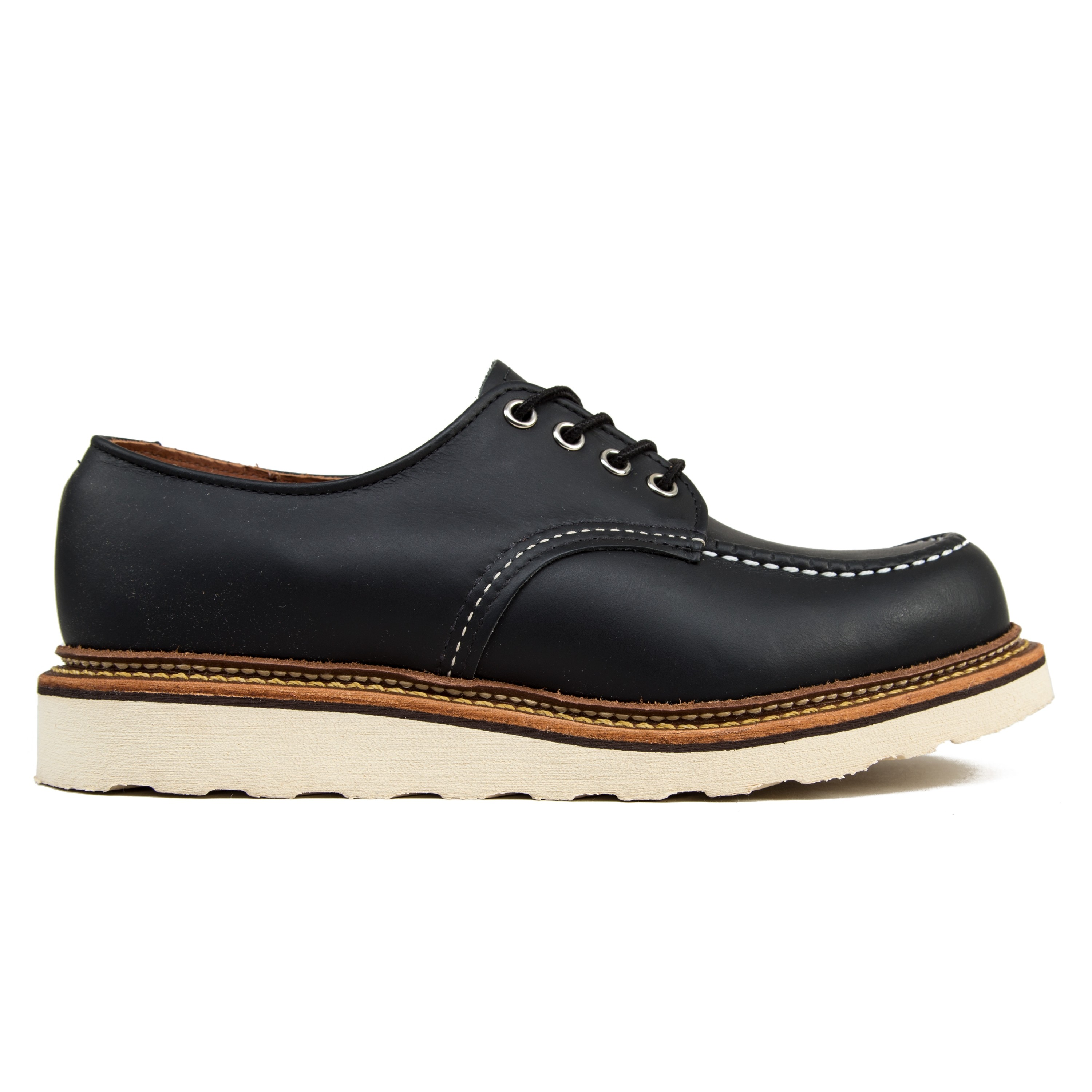 Red Wing 8106 Classic Oxford Moc Toe Shoes Black Chrome Leather