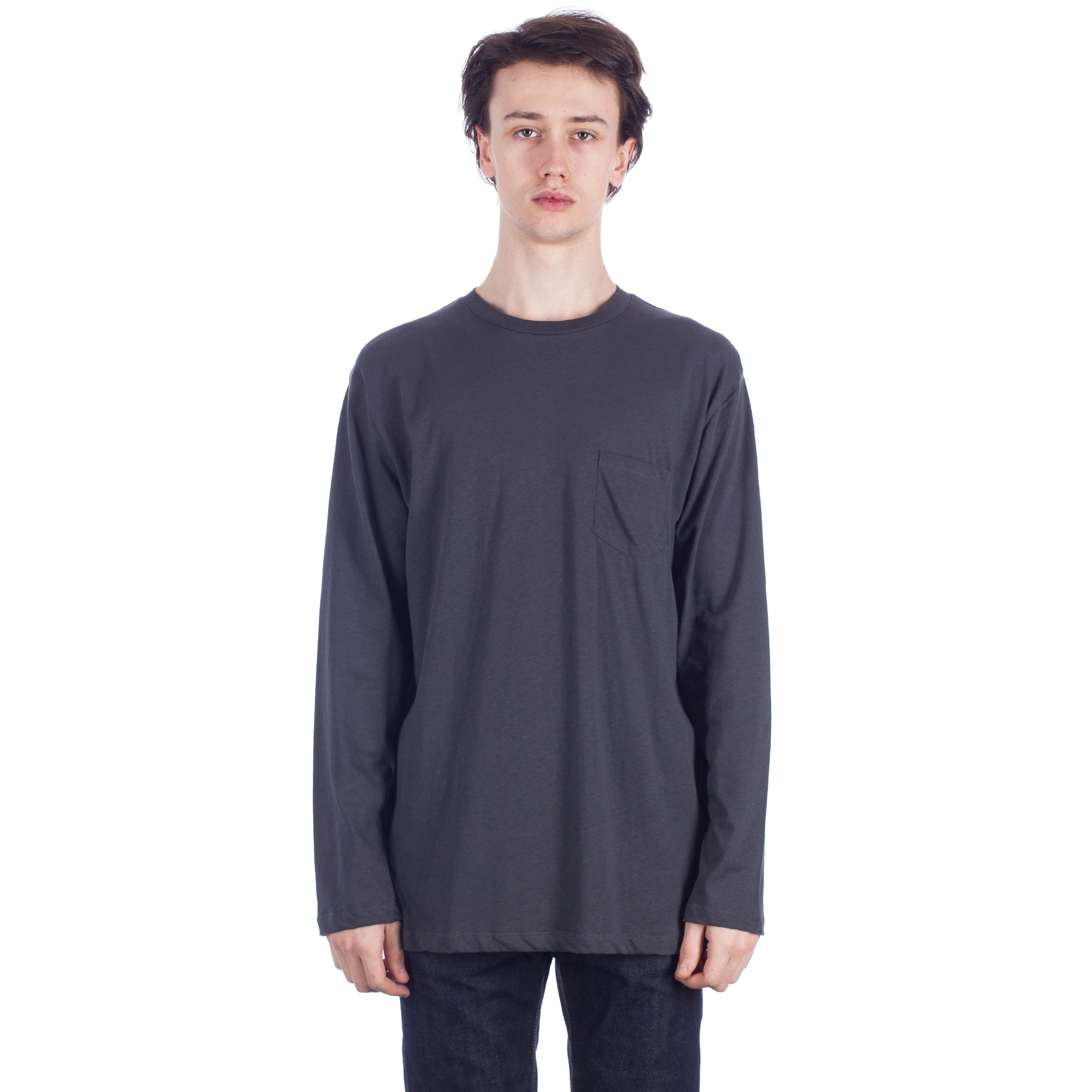 138bc169 Sunspel Relaxed Long Sleeve Pocket T-Shirt (Charcoal)