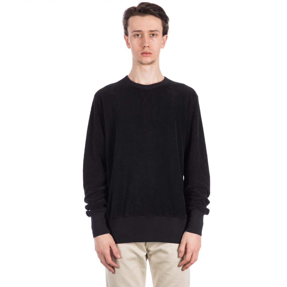 Our Legacy Reversible Crew Neck Sweatshirt Overdyed Black Terry (F11j4422)