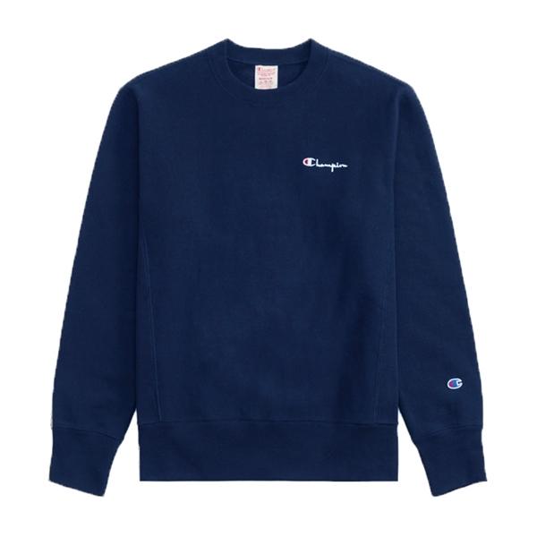 Champion Reverse Weave Vertical Script Applique Crew Neck Sweatshirt (Navy)