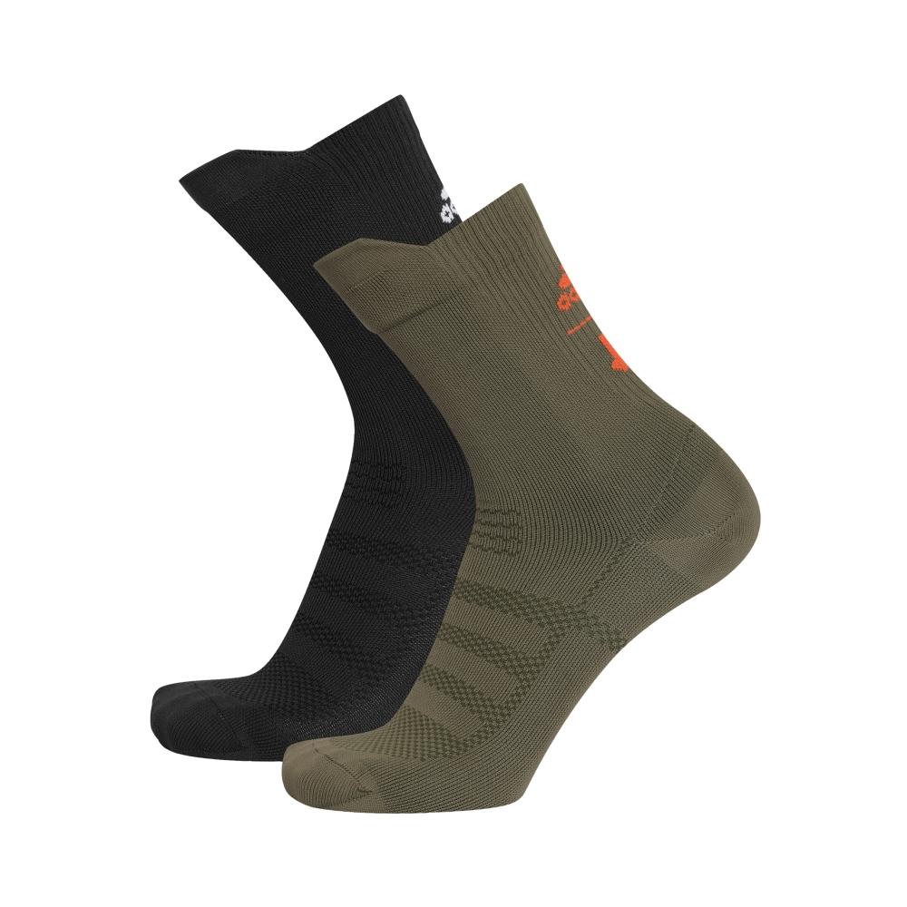 adidas by UNDEFEATED Socks 2-Pack (Olive Cargo/Black/Orange/White)
