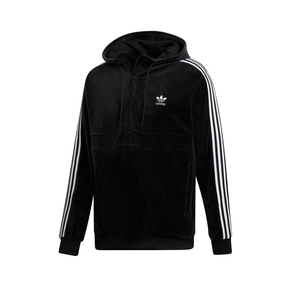 adidas Originals COZY Half Zip Pullover Hooded Sweatshirt (Black)