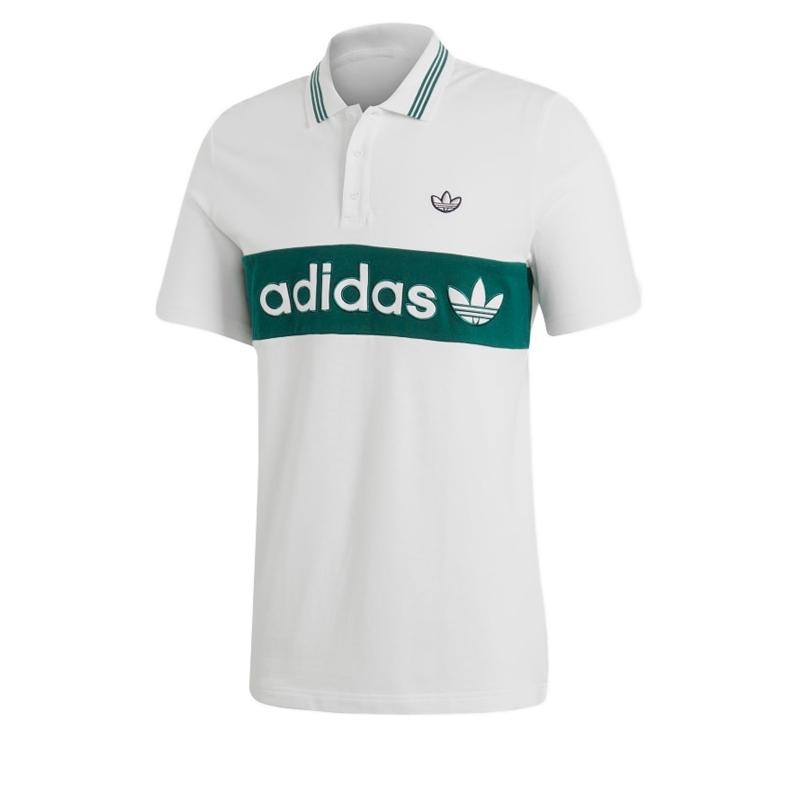 adidas Originals Samstag Colour Block Stripe Polo Shirt (White/Collegiate Green)