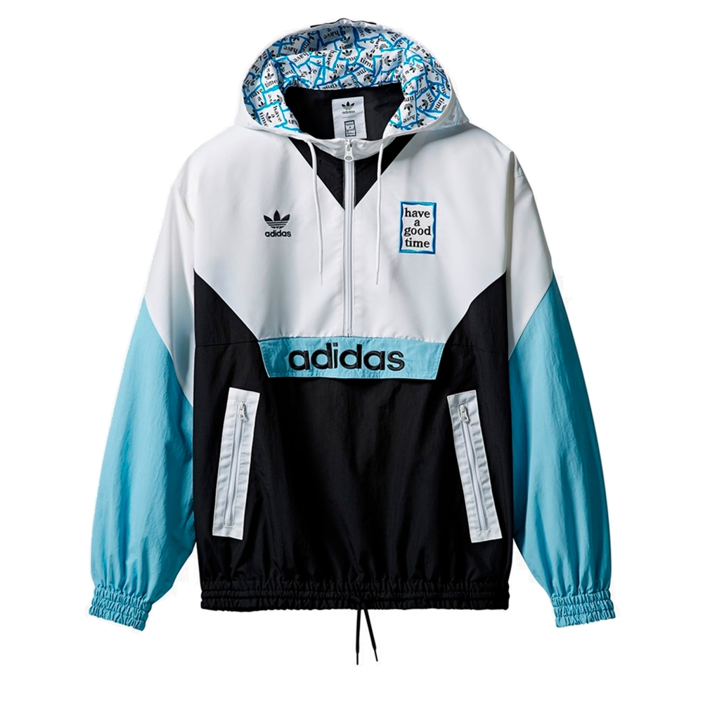 adidas Originals x have a good time Pullover Windbreaker (White/Black/Clear Blue)