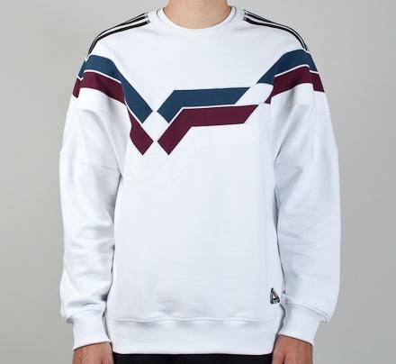 Adidas X Palace Stripe Crew Neck Sweatshirt White