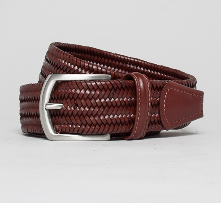 Anderson's Elasticated Plaited Leather Belt (Dark Brown)