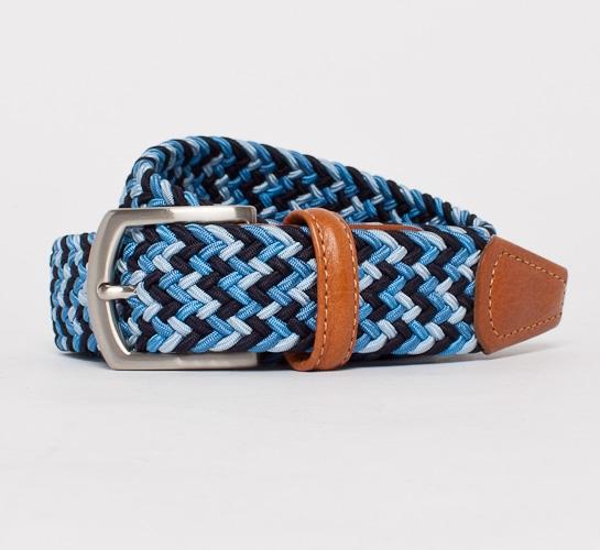 Anderson's Plaited Elasticated Belt (Blues/Light Tan)
