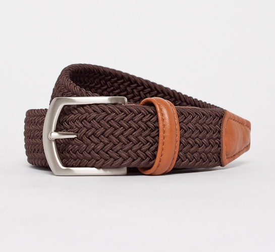 Anderson's Plaited Elasticated Belt (Dark Brown/Light Tan)