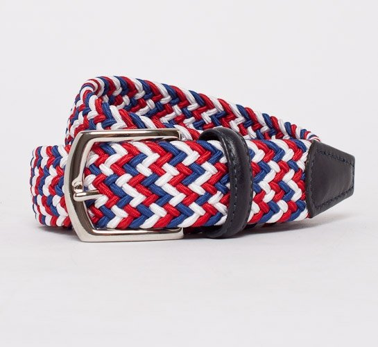 Anderson's Plaited Elasticated Belt (Red-White-Blue/Navy)