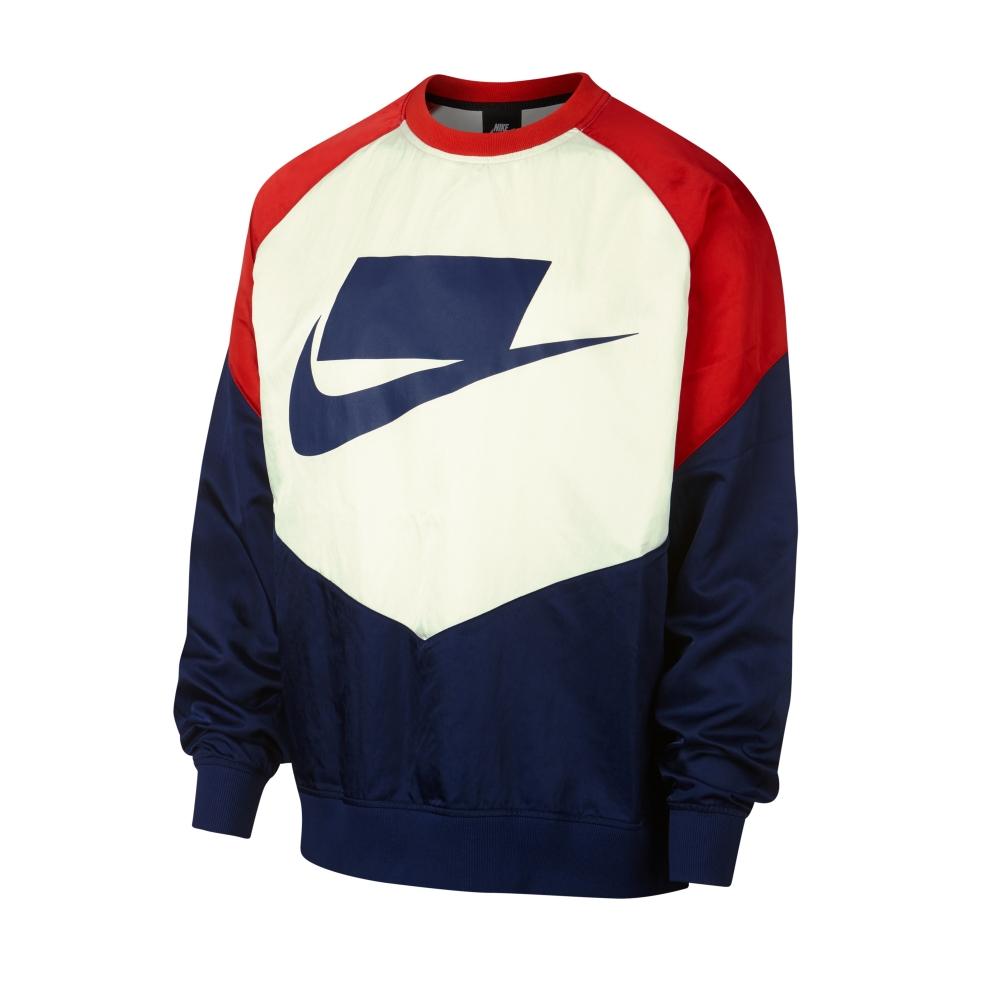 Nike Sportswear Woven Crew Neck Sweatshirt (Blue Void/University Red/Sail/Blue Void)