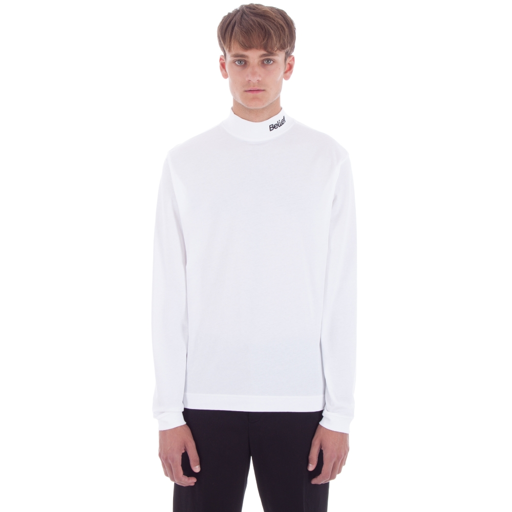 Belief Connect Mock Neck Long Sleeve T-Shirt (White)