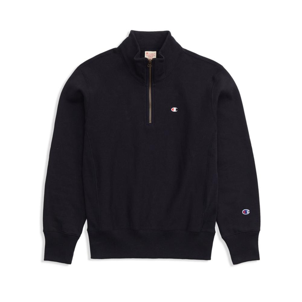 Champion Reverse Weave Half Zip-Through Turtleneck Sweatshirt (Black)