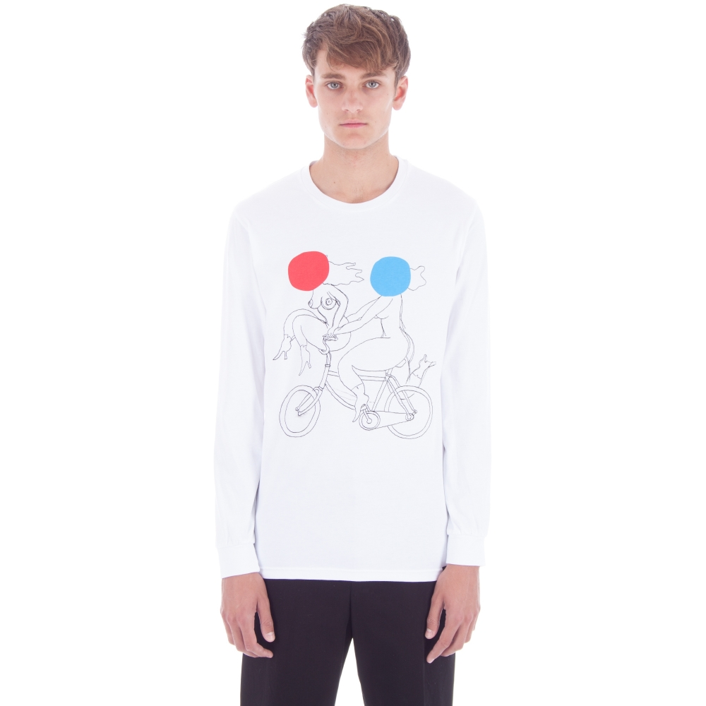 by Parra Biker Girls Long Sleeve T-Shirt (White)