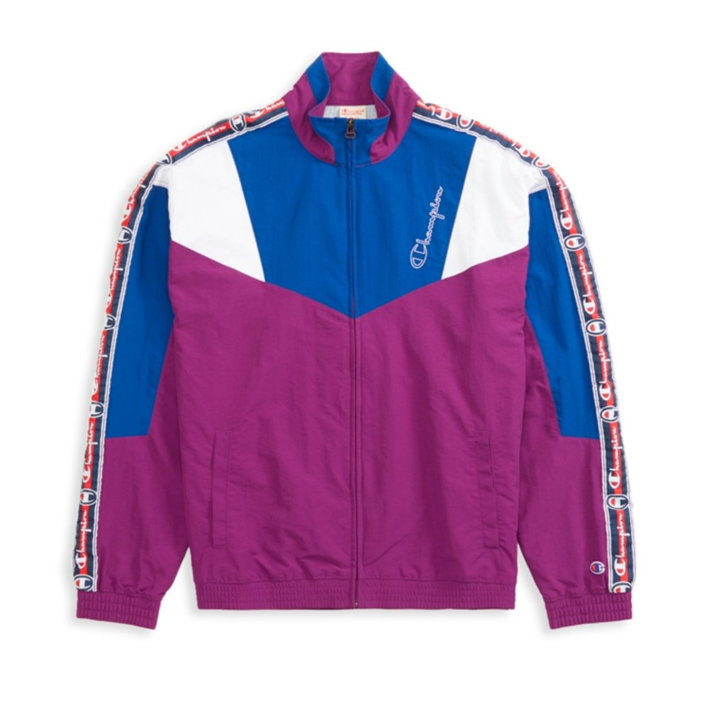 Champion Reverse Weave Colour Block Logo Tape Track Jacket (Dark Purple)
