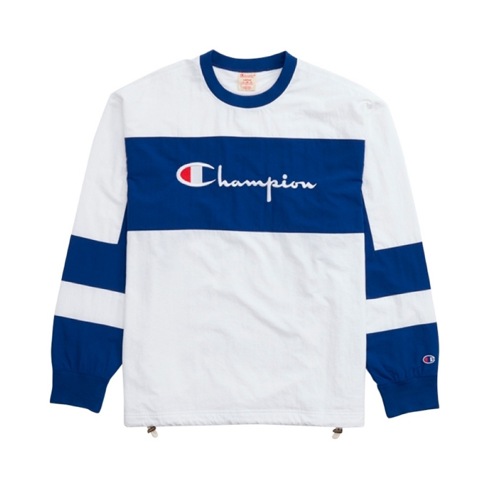 Champion Reverse Weave Colour Block Script Logo Sweatshirt (White)