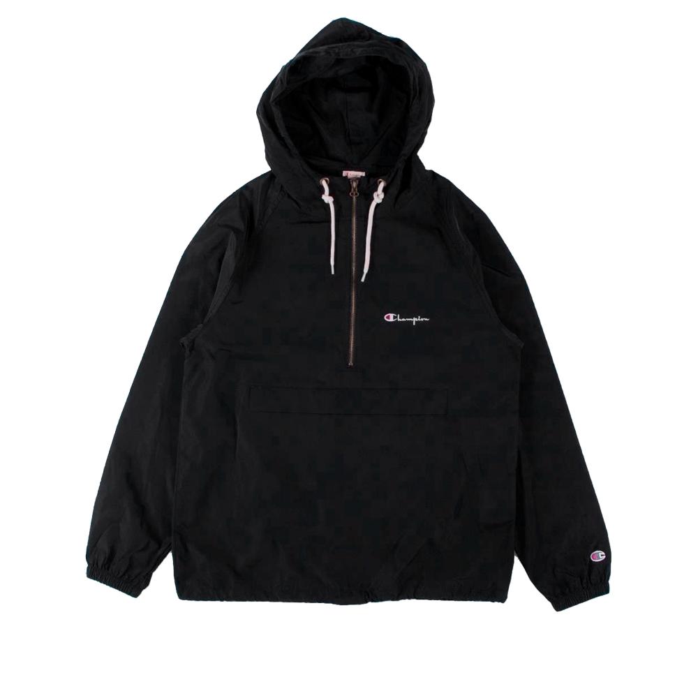 Champion Reverse Weave Half Zip-Through Hooded Jacket (Black)