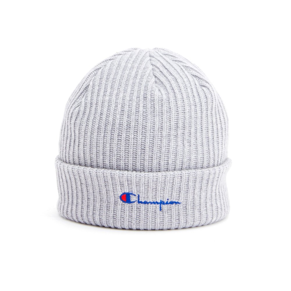 Champion Reverse Weave Merino Wool Blend Script Logo Beanie (Light Grey)