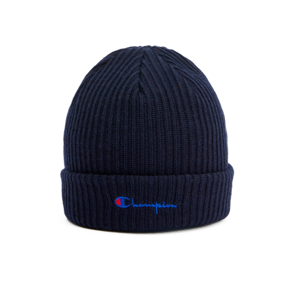 Champion Reverse Weave Merino Wool Blend Script Logo Beanie (Navy)