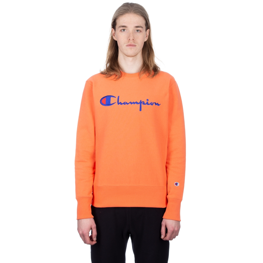 Champion Reverse Weave Script Applique Crew Neck Sweatshirt (Salmon)
