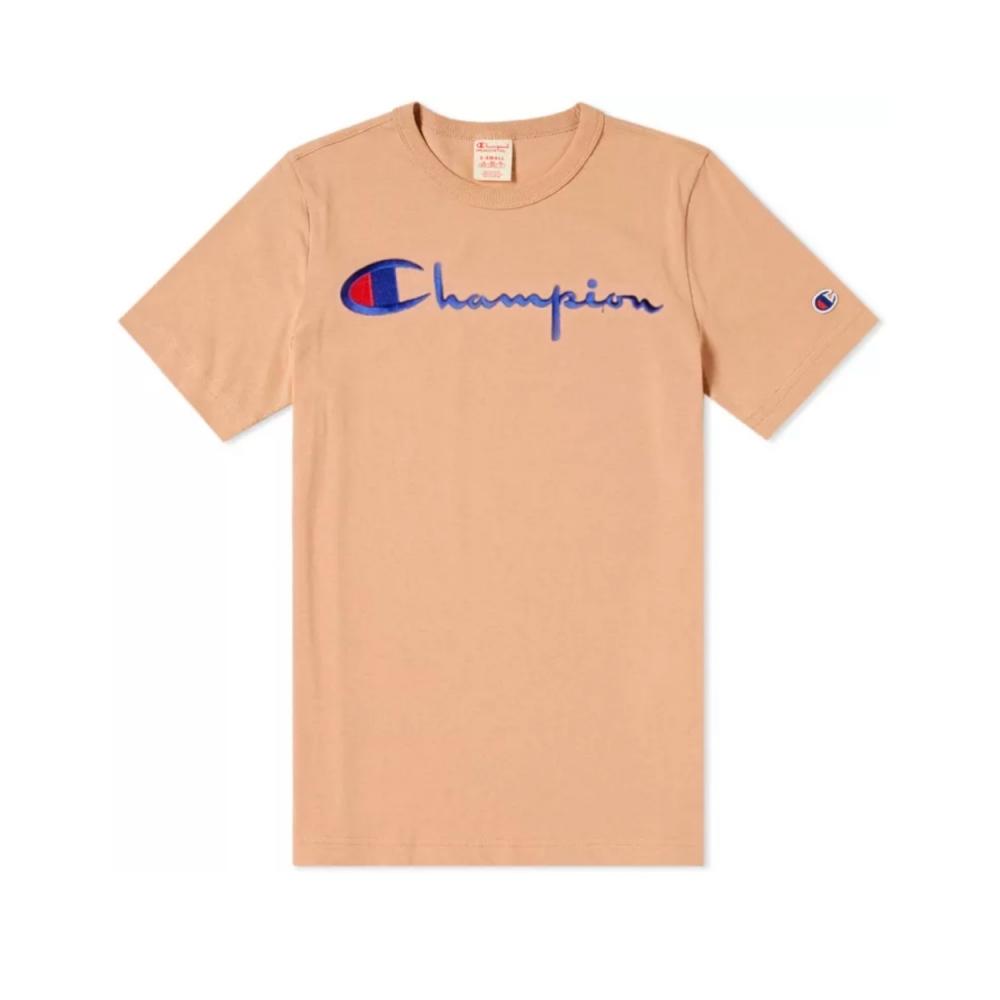 Champion Reverse Weave Script Applique Crew Neck T-Shirt (Beige)