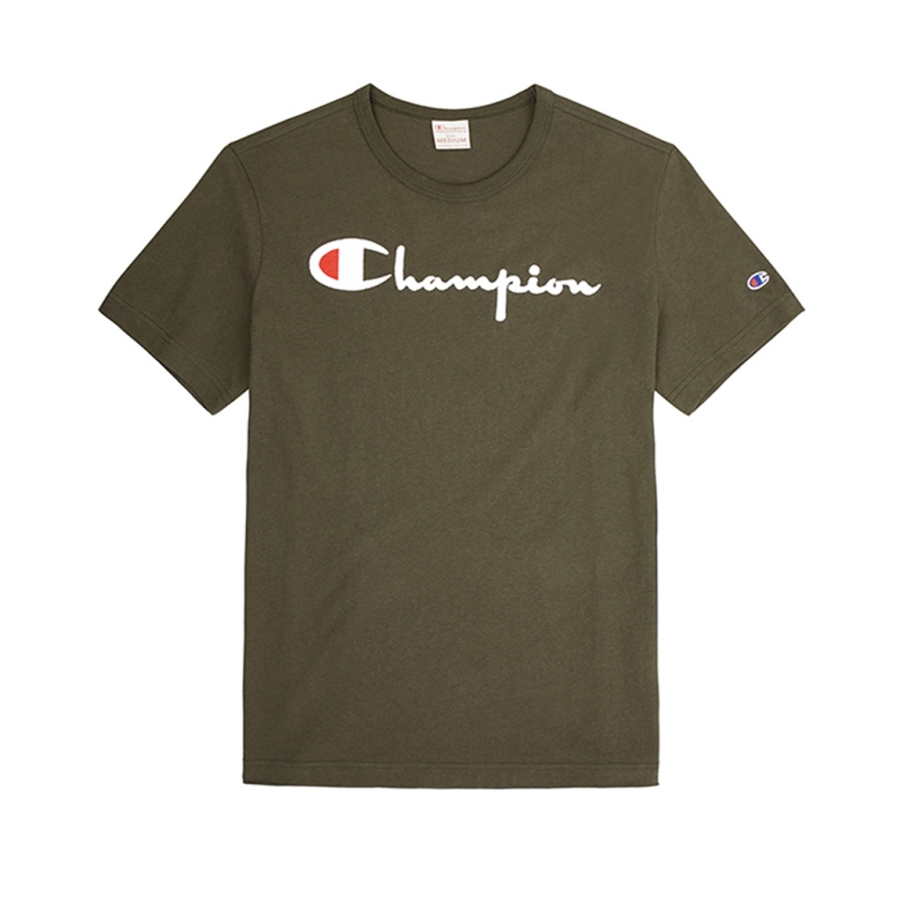 Champion Reverse Weave Script Applique Crew Neck T-Shirt (Forest Green)