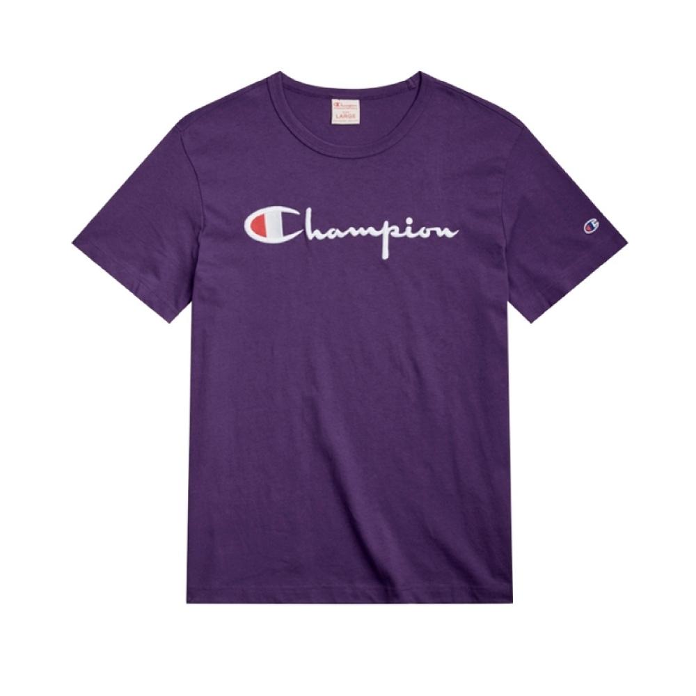 Champion Reverse Weave Script Applique Crew Neck T-Shirt (Dark Purple)