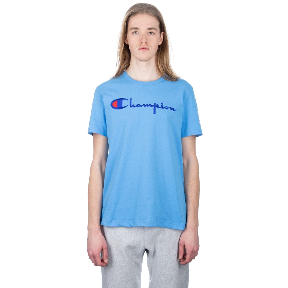 Champion Reverse Weave Script Applique Crew Neck T-Shirt (Sky Blue)