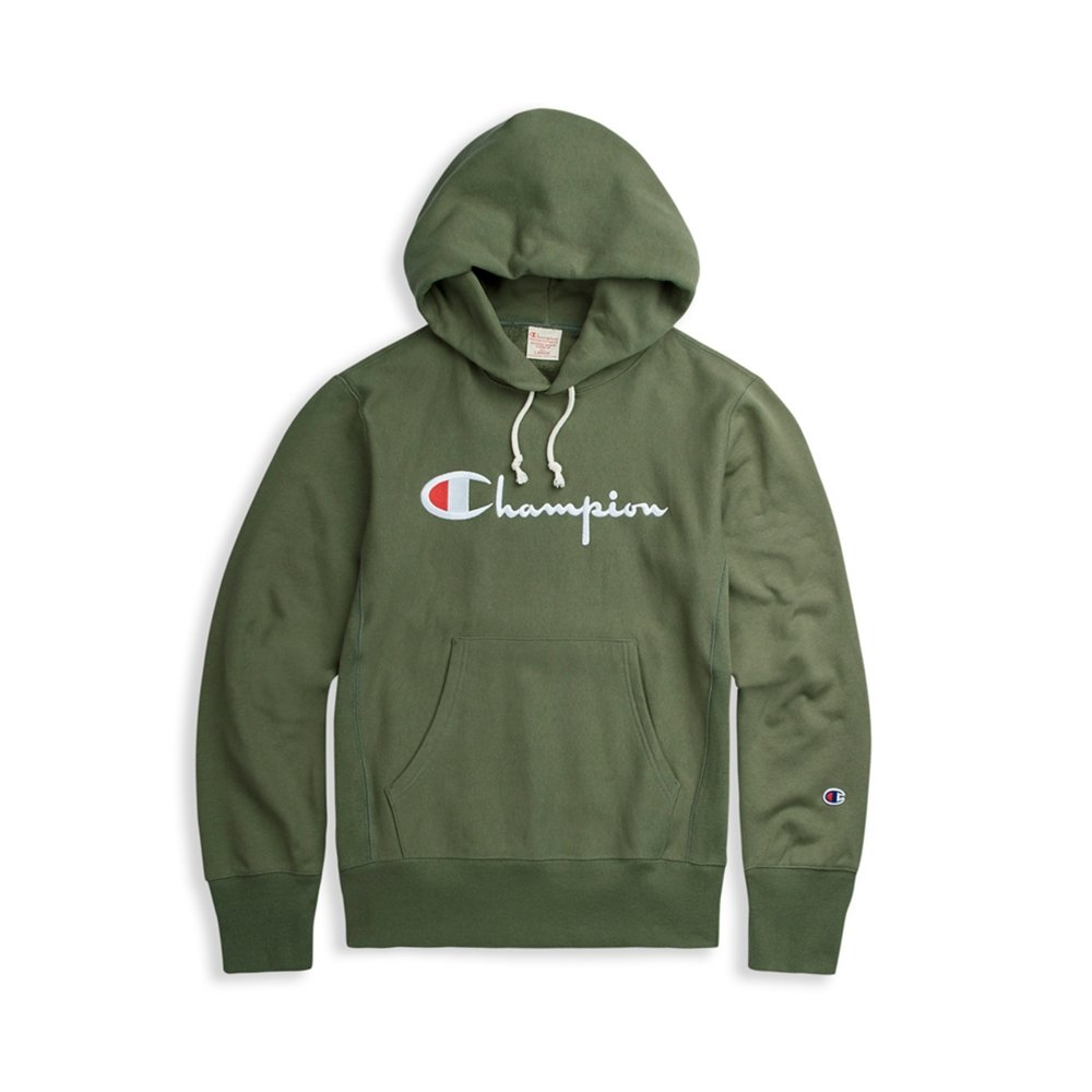 01e5eb20 Champion Reverse Weave Script Applique Pullover Hooded Sweatshirt (Green)