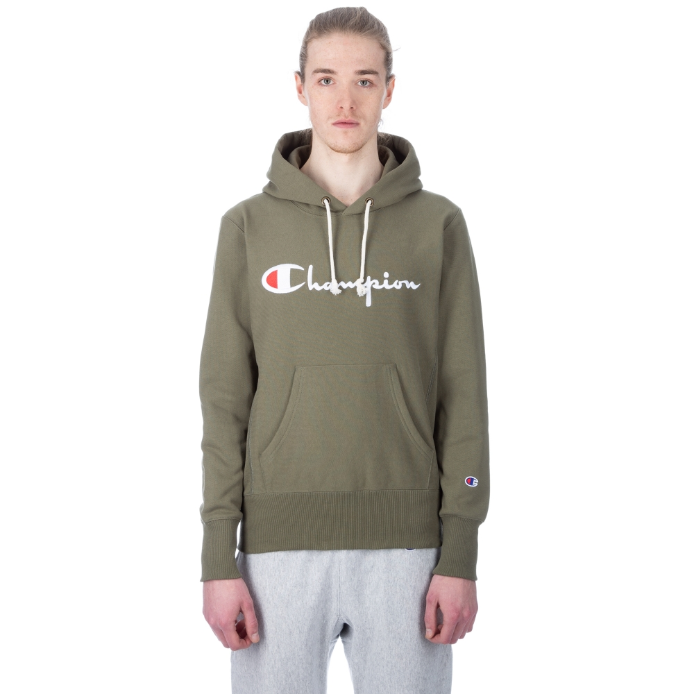 Champion Reverse Weave Script Applique Pullover Hooded Sweatshirt (Olive)