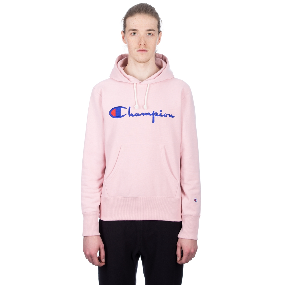 Champion Reverse Weave Script Applique Pullover Hooded Sweatshirt (Pink)