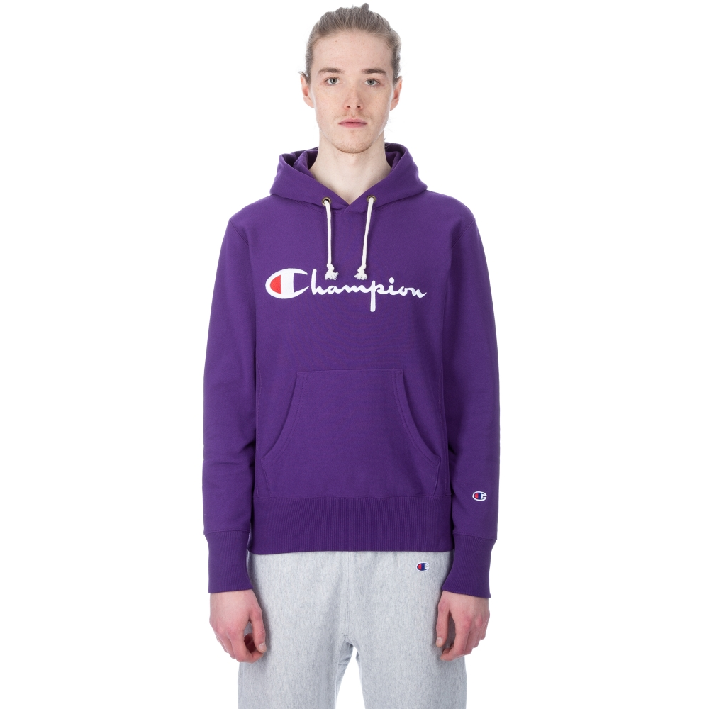 Champion Reverse Weave Script Applique Pullover Hooded Sweatshirt (Purple)
