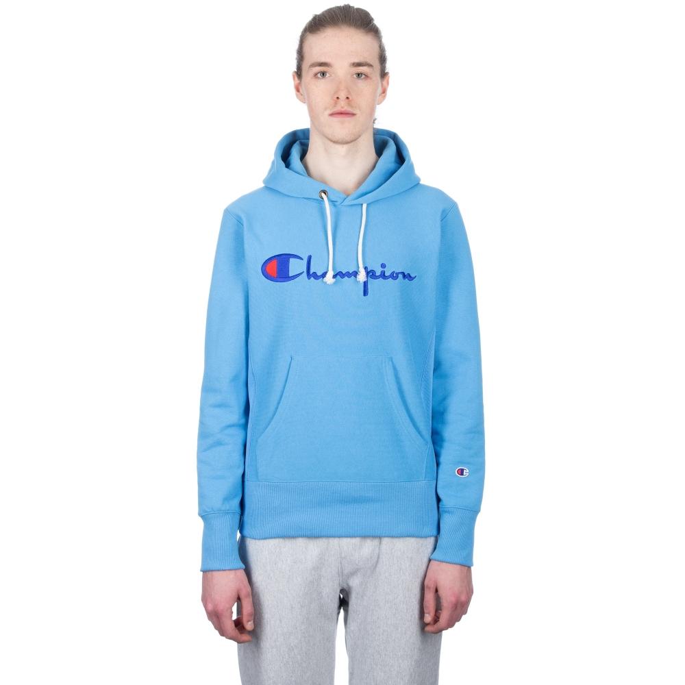 Champion Reverse Weave Script Applique Pullover Hooded Sweatshirt (Sky Blue)