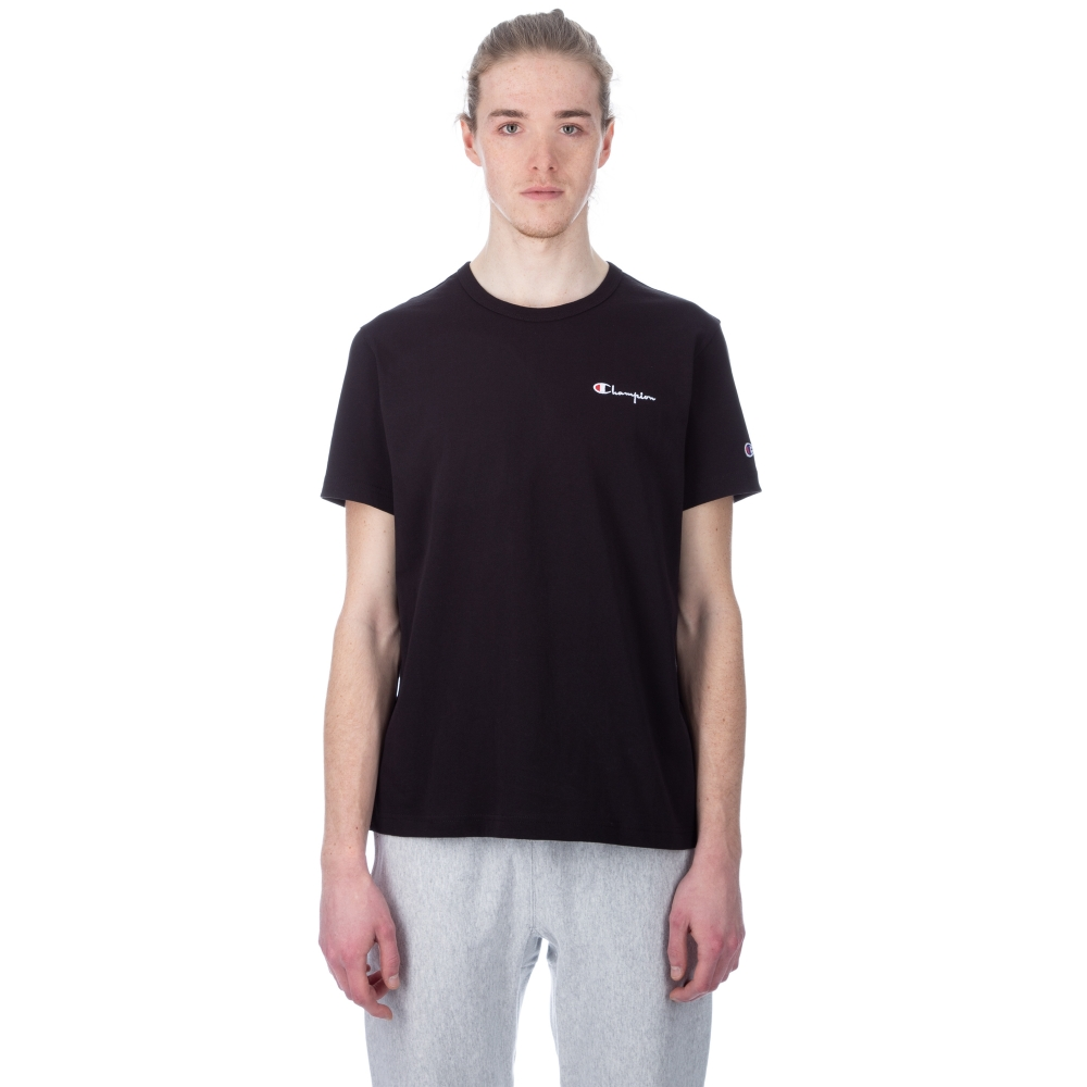 Champion Reverse Weave Small Script Crew Neck T-Shirt (Black)