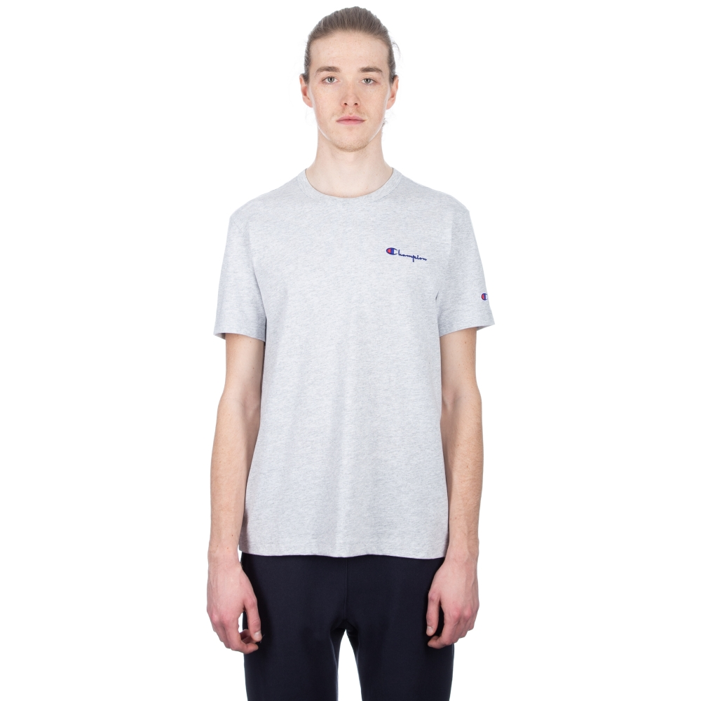Champion Reverse Weave Small Script Crew Neck T-Shirt (Light Oxford Grey)