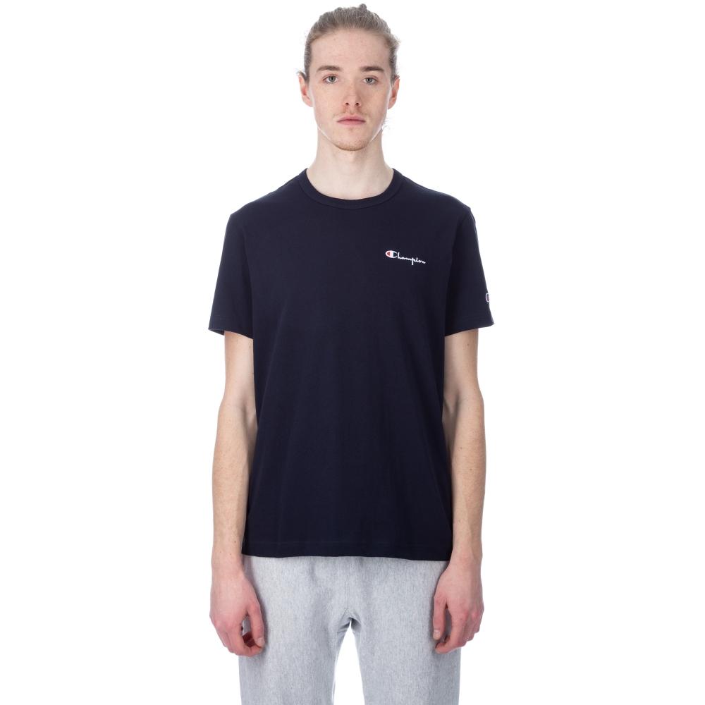 Champion Reverse Weave Small Script Crew Neck T-Shirt (Navy)