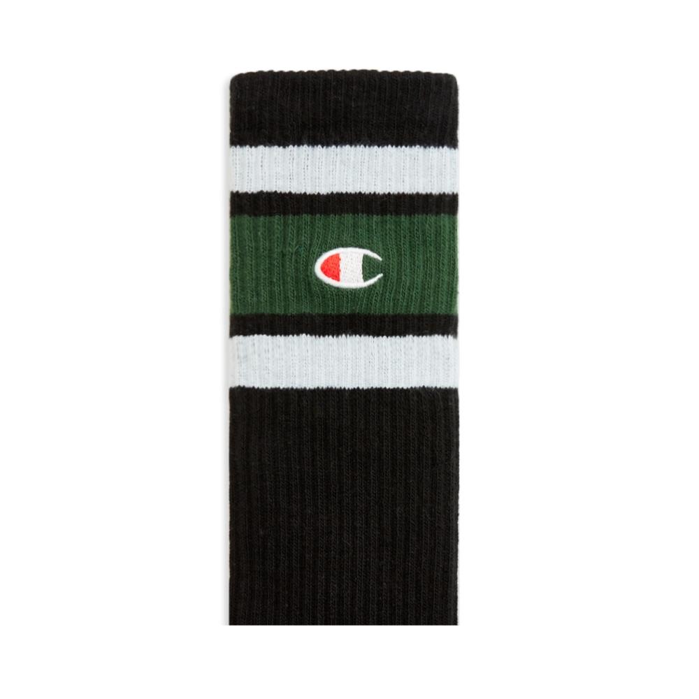 Champion Reverse Weave Stripe Ribbed Crew Sock (Black)