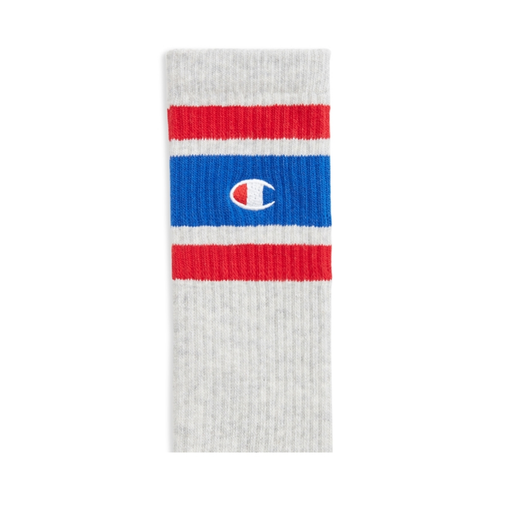 Champion Reverse Weave Stripe Ribbed Crew Sock (Light Grey)