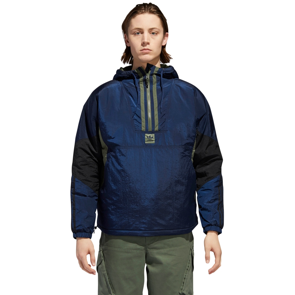 adidas Skateboarding Anorak Puffy Jacket (Collegiate Navy/Black/Base Green)