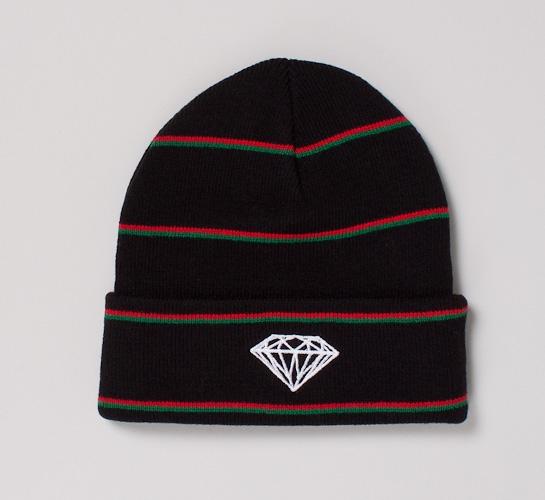3f50dbb5e8d Diamond Supply Co. Striped Brilliant Beanie (Black Red) - Consortium