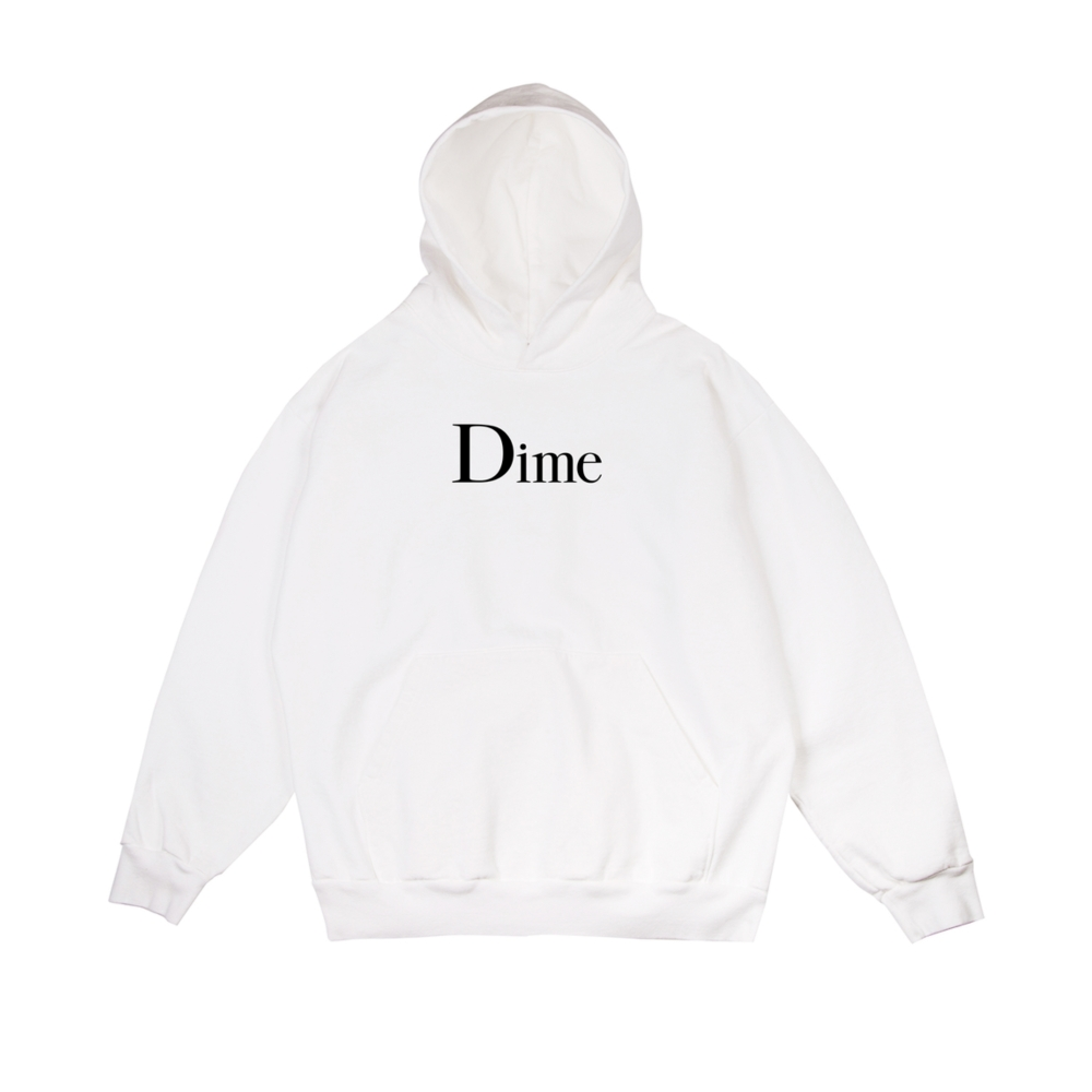 Dime Classic Logo Pullover Hooded Sweatshirt (White)
