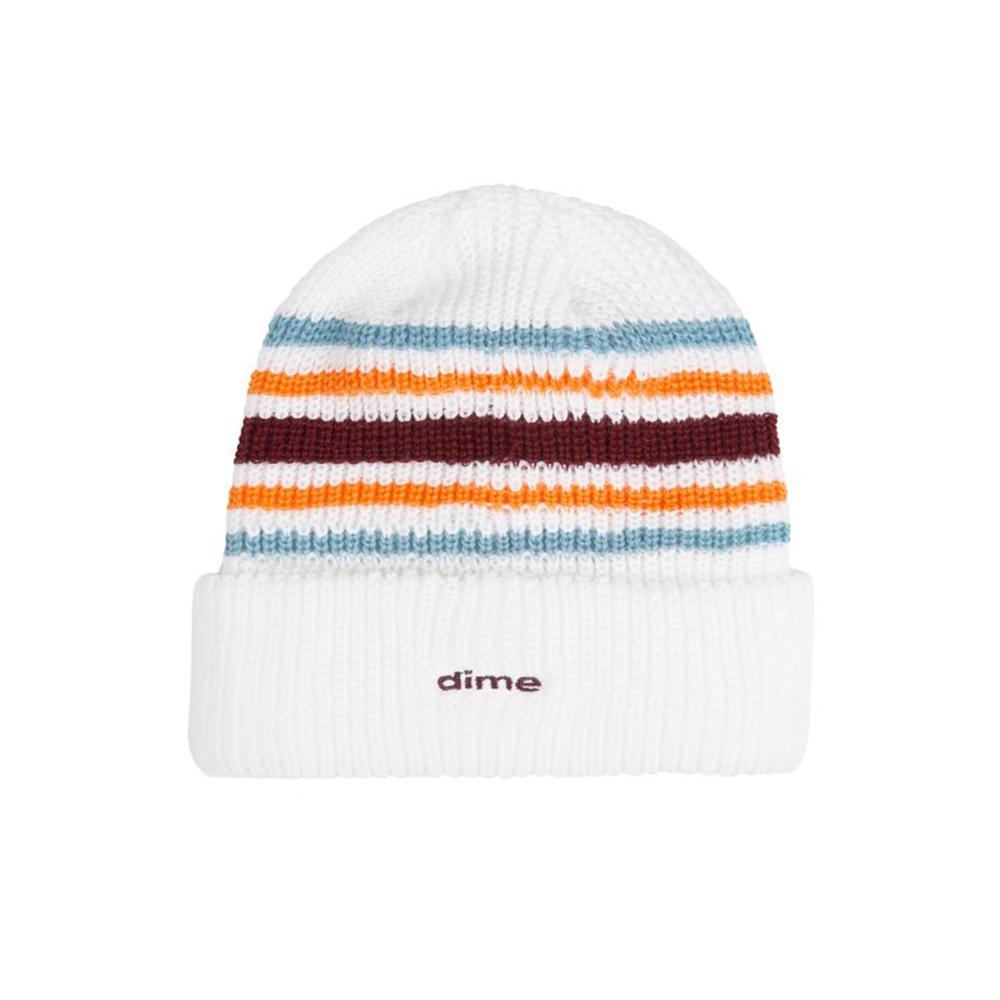 Dime Striped Beanie (White)