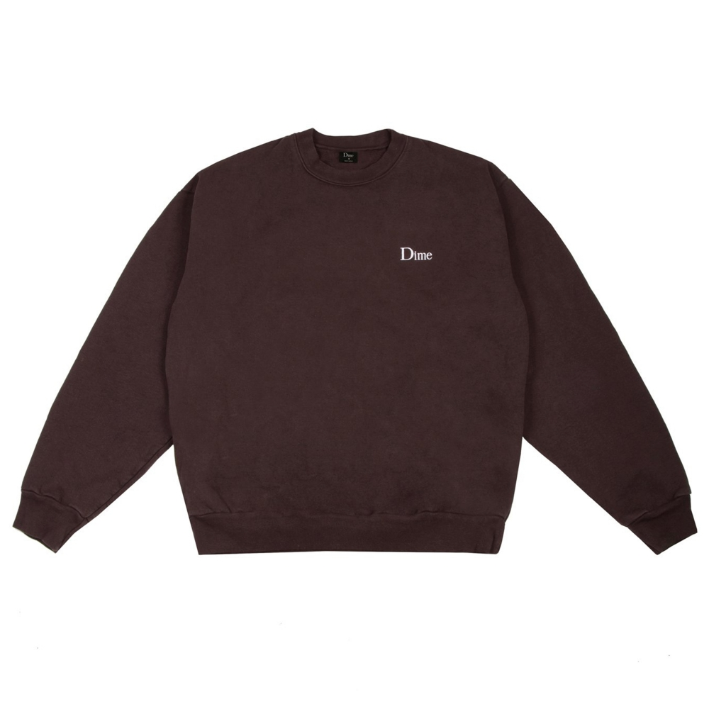 Dime Classic Logo Crew Neck Sweatshirt (Brown)
